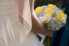 rose bridal, blue hydrangea, bridal bouquets, wedding bouquets, rose wedding, bouquet idea, yellow roses, blue wedding flowers, blue weddings