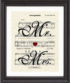 Custom, Personalized, Sheet Music Art, Favorite Song, Song Lyric, Mrs Mrs, Bicycle, Music Art, Wedding, Anniversary,Gift