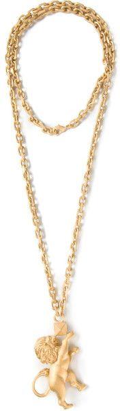 Valentino Gold Lion Pendant Necklace