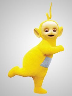 Laa-Laa, the third Teletubby. She is yellow, and has a curly antenna. She likes to sing and dance, and is often seen to look out for the other Teletubbies.