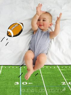 Football baby photo. :) How to make cool baby pictures - DIY awesome baby photo - just lay your baby on a sheet and paint on the photo in any paint program on your computer. Unique Baby photos. Baby picture with football. Funny baby photos 3 month old baby photo ideas. 6 month old baby photo ideas. 9 month old baby photo ideas.