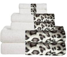 Snow Leopard & White Bordering Africa Bath Towels  $11.00-$27.00 SALE $10.00-$24.00 towel 11002700, 11002700 sale, bath towel, sale 5500, lush white, towel set, towels, snow leopard, leopard bathroom