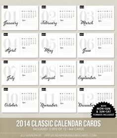 *NEW* 4x6 2014 Classic Calendar Cards (Digital)