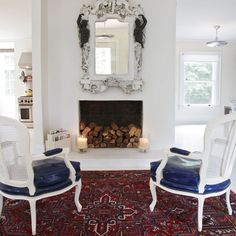 Fireplace idea for fall. Before being used--a good dry storage place for winter firewood.