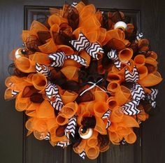 "Large 28"" wide deco mesh halloween wreath orange black black white glittery chevron ribbon"