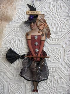 Halloween Witch Altered Art Paperdoll by virginiasvignettes