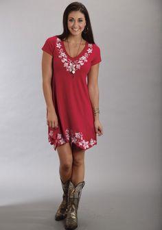 Stetson® Red Embroidered Cap Sleeve Handkerchief Hem Western Dress