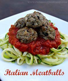 Grain Free Italian Meatballs www.PrimallyInspired.com