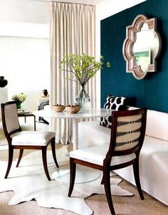 mirror, dining rooms, wall colors, blue wall, dark walls, white decor, paint, blues, accent walls