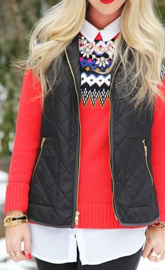 Dress up cozy pieces with a structured vest & statement accessories!
