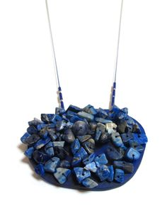 """Melinda Young - 'Scatter neckpiece' Lapis Lazuli, Sodalie, Scrap Acrylic, 925 Silver, Silk Thread (from the """"Once More, With Love"""" project/exhibition)"""
