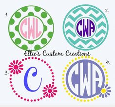 Personalized Monogram Decals Chevron Pattern or  Polka Dots or Flower Car Decal on Etsy, $10.00 monogram decal, cricut idea, chevron patterns, polka dots, diy idea, car decals, flowers, monograms, vinyl ideassilhouett