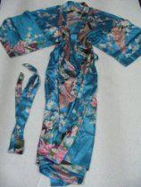Women's 100% Thai Silk Robes- Asian Peacock Design- Perfect Teal (Free Size)