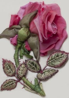 Oh my! Rose ribbon embroidery This website has kits, free downloadable patterns and tutorials ... Ribbonwork, Silk Ribbon, Ribbons, Roses, Ribbon Rose, Bordado, Rose Ribbon, Flower, Ribbon Embroideri