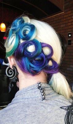 victory rolls, purple hair, mermaid hair, pincurl, color, blue green, wedding hairs, pin curls, green hair