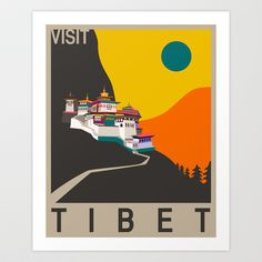 Visit Tibet Art Print by Jazzberry Blue
