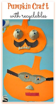 Super hero super villain Pumpkin craft with recyclables : Use an entire egg carton to make a fun pumpkin craft with your preschoolers. #halloweencraftsforkids #pumpkincrafts