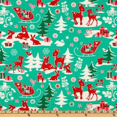 Michael Miller Holiday Yule Critters Aqua from @fabricdotcom  Designed for Michael Miller Fabrics,this cotton print features a retro-mod animals in colors of red, green, white and pink on an aqua background. Use for quilting and craft projects.