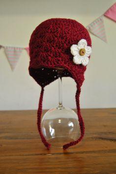 Crochet TODDLER beanie, girl shell stitch earflap beanie