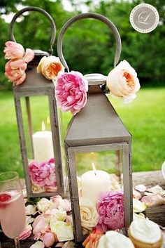lantern but with green flowers lantern centerpieces, floral centerpieces, color, candl, lanterns, wedding centerpieces, flower, parti, bridal showers