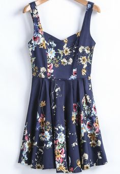 Blue Spaghetti Strap Floral Slim Pleated Dress pictures