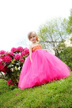 Hydrangea Tutu Dress in Tangerine and Pink by YourSparkleBox, via Etsy.