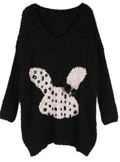 Cartoon Rabbit V Collar Sweater Black$42.00