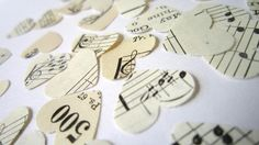 Vintage music notes paper hearts confetti...would be beautiful for wedding decorations