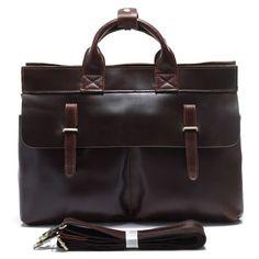 """Vintage Handmade Leather Briefcase / Messenger / 15"""" Laptop 15"""" MacBook Bag in Dark Brown"""