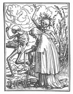 """""""The Old Woman"""" from Hans Holbein the Younger's Danse Macabre (1523-26).  TheDance of Death(1523–26) refashions the late-medievalallegoryof thedanse macabreas a reformist satire.Holbein's series ofwoodcutsshows the figure of """"Death"""" in many disguises, confronting individuals from all walks of life. None escape Death's skeleton clutches, even the pious."""