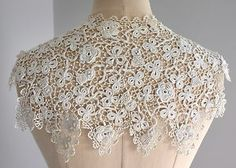 irish crochet | Antique-vintage-Irish-crochet-lace-collar-raised-roses-shamrocks-and ...