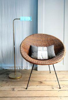 Vintage Mid Century Wicker Basket Chair
