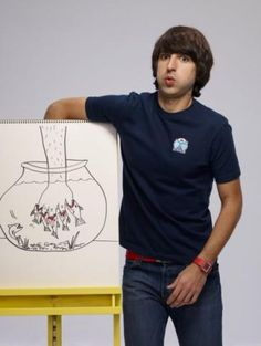 I want to use Demetri Martin as inspiration for interactive art using line in my September classes.  (I love humor in art) Self Portrait of interests.