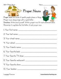 PROPER NOUN WORKSHEET - TeachersPayTeachers.com