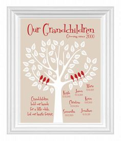 Grandchildren Family Tree with grandkid's birth dates - Personalized Grandparent Gift - Gift for Parents -Christmas Gift - other colors. $15.00, via Etsy. grandparent gifts, family trees, famili, person grandpar, grandpar gift, kreationsbymarilyn, gift idea, bridesmaid gift, grandparents christmas gifts
