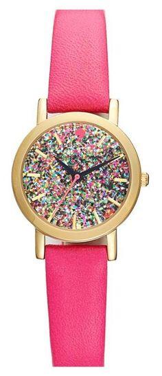 kate spade new york pink glitter watch