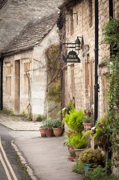Tea rooms on a cold and foggy morning, Castle Combe, England
