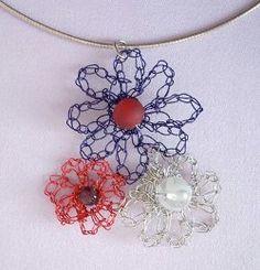 Crocheted Wire Flower Pendant