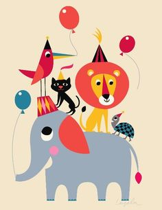 Animal Party Poster www.roseandgrey.co.uk