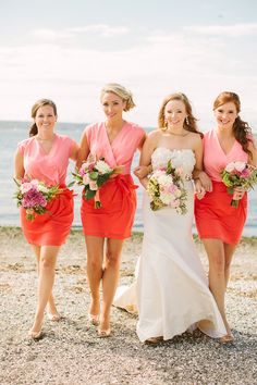 two-tone bridesmaid dresses, photo by Rebecca Arthurs http://ruffledblog.com/rhode-island-beach-wedding #bridesmaids #bridesmaidsdresses