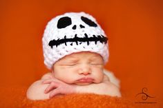 Crochet Baby Jack The Pumpkin King Hat, Halloween ashlie_norman