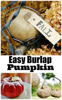 Easy diy burlap pumpkin.  Make this pumpkin with mod podge and a dollar store pumpkin thsitlewoodfarms.com burlappumpkin, idea, craft, fall decor, burlap project, pumpkins, burlap pumpkin, diy, halloween