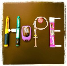 ~ HOPE ~  Love this creation of HOPE with diabetes supplies!  We are hoping for a cure for type 1 diabetes!