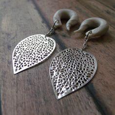Silver Leaf Gauged Earrings by TheCreatorsCreations on Etsy
