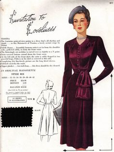 (¯`'•.ೋ Maisonette frocks Salesman's sample (circa 1949). #vintage #1940s #fashion #dresses