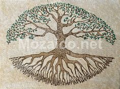 tree of life mosaic   MF163 Tree of life Version in Marble An Glass Mosaic Art