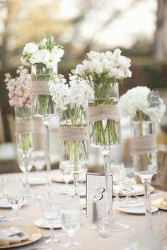 table settings, white flowers, idea, glasses, flower centerpieces, weddings, simple centerpieces, table arrangements, champagne flutes