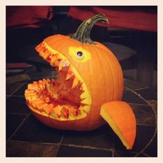 This Sharks pumpkin ready to take a bite of some Halloween candy.