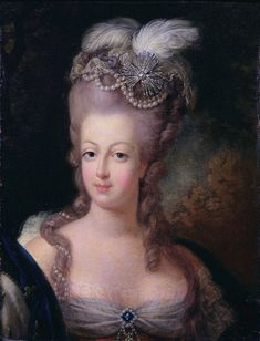 Marie Antoinette became Queen of France and her husband, Louis XVI, the King, when his grandfather Louis XV died in 1774. In this 1775 painting she is twenty.
