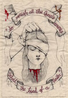 """certaincircuits:  ART Kjersti Faret—""""The Execution of Lady Jane Grey"""" Depicts the young head of Lady Jane Grey, the Nine Day Queen, after she was executed and the quote from her executioner as he displayed her head. Kjersti Faret is currently a junior at SVA studying illustration. Her favorite mediums include etching, embroidery, gouache and ink. She is half Norwegian and half cat, both of which influence her work greatly."""
